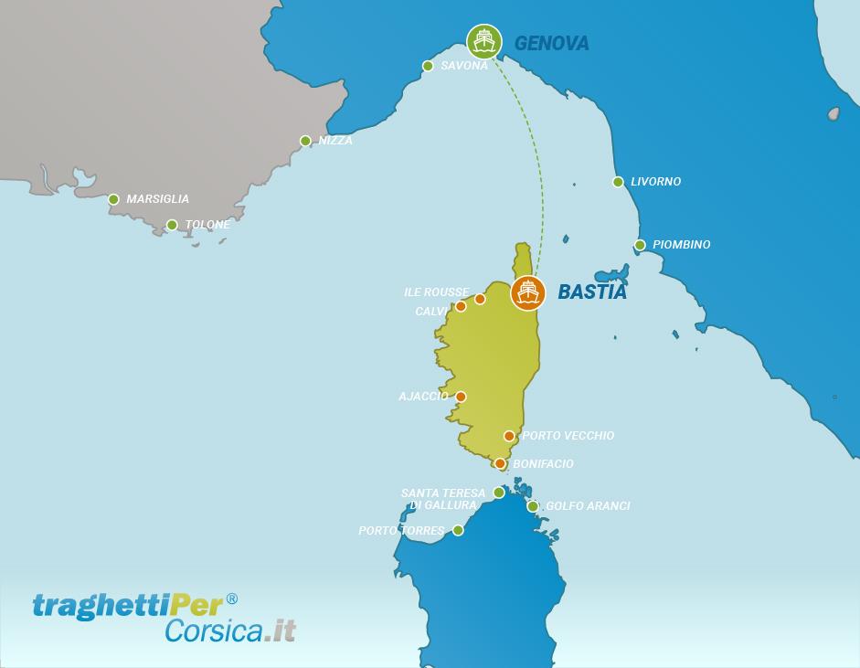 Routes from Genoa to Bastia