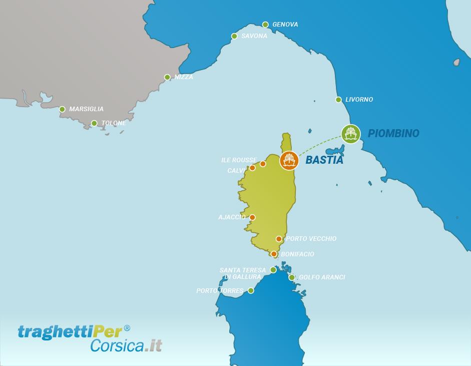 Routes from Piombino to Bastia