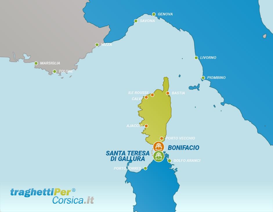 Routes from Santa Teresa di Gallura to Bonifacio