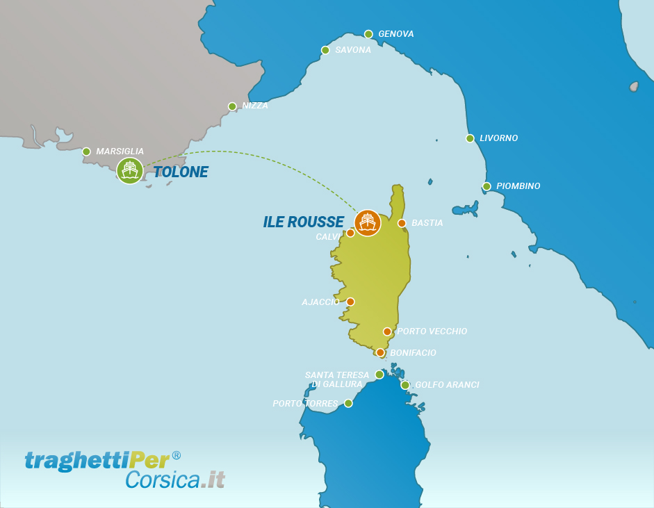 Routes from Toulon to Ile Rousse