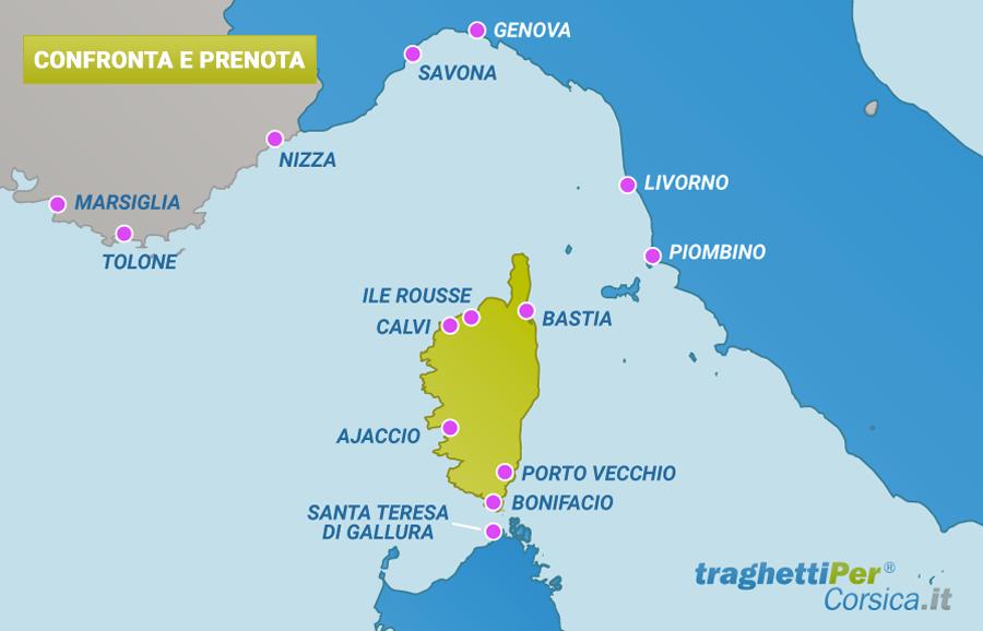 Confronta e prenota traghetti per la corsica
