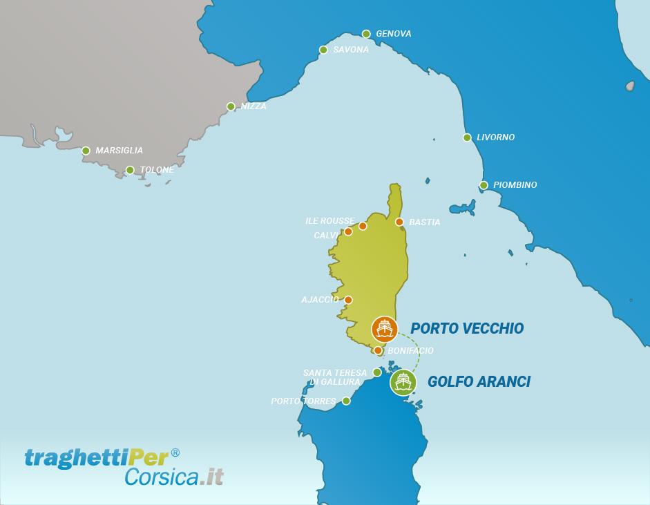 Tratta traghetto da Golfo Aranci a Porto Vecchio
