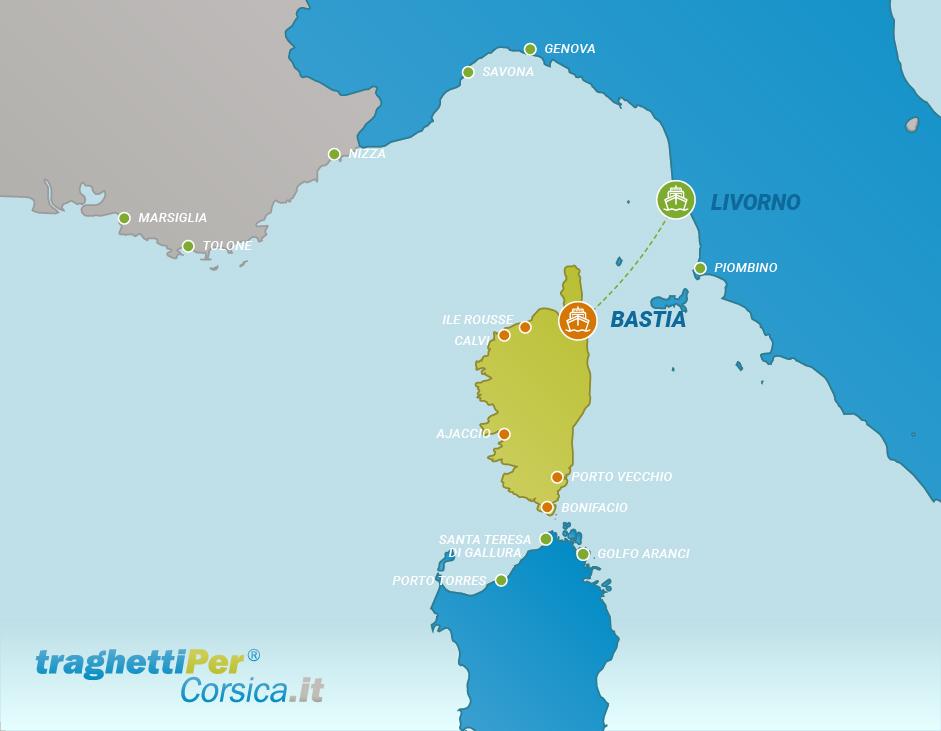 Tratta traghetto da Livorno a Bastia