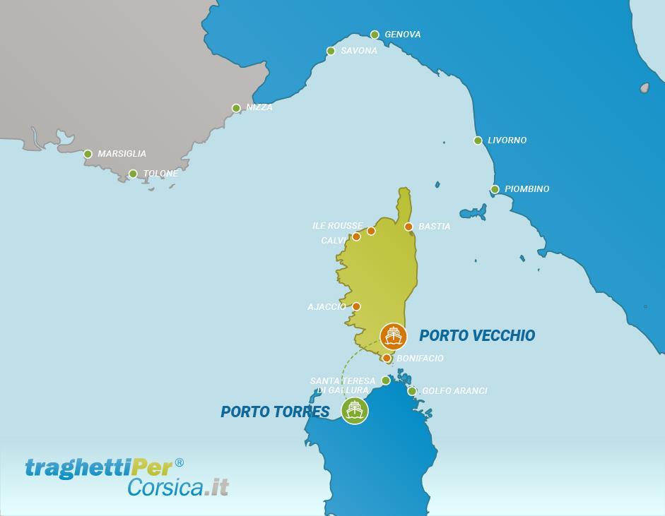 Tratta traghetto da Porto Torres a Porto Vecchio