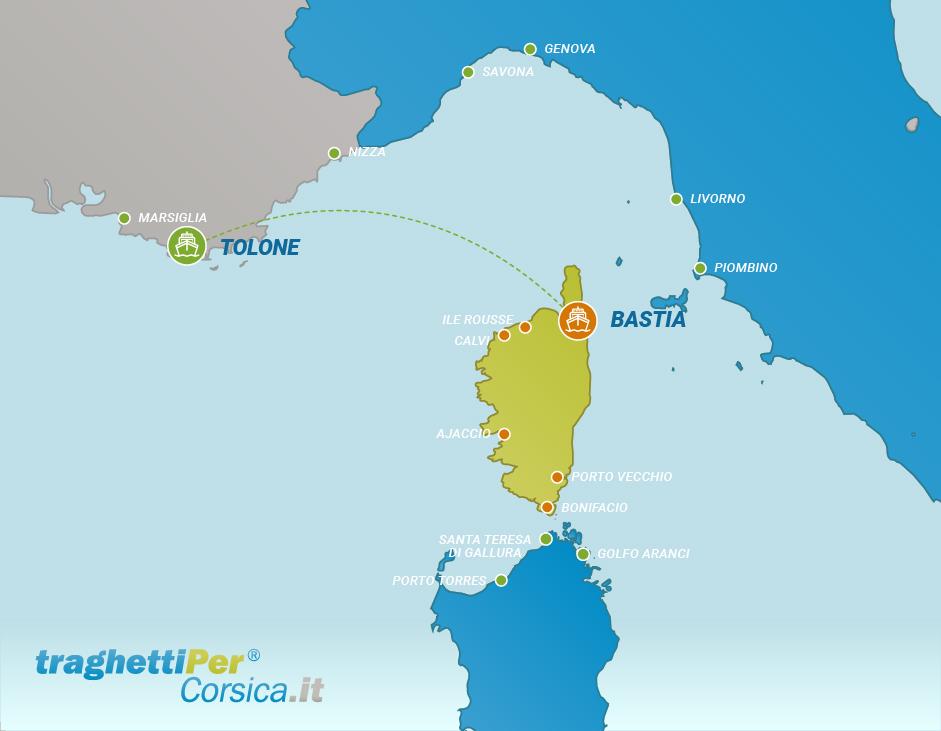 Tratta traghetto da Tolone a Bastia